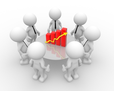 3d people - men, person with financial chart - diagram Stock Photo - 14967108