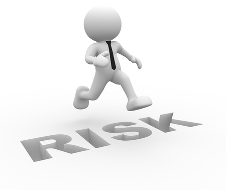 3d people - man, person jumping over word   risk   photo