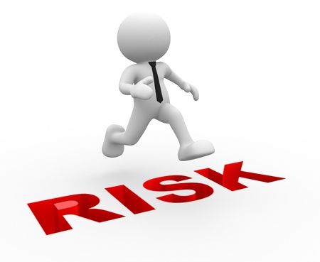 3d people - man, person jumping over word   risk Stock Photo - 14967088