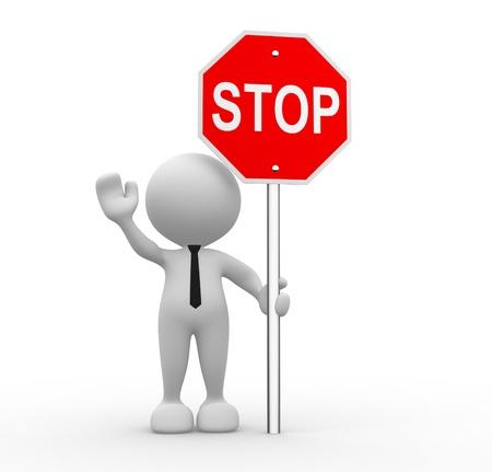 3d gente - hombre, persona con una señal de stop