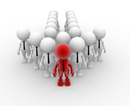 leaders: 3d people - men, person in group  Leadership and team