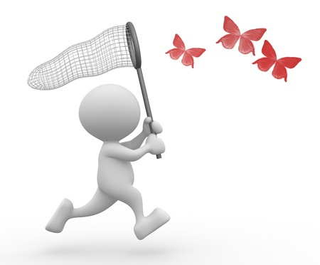 3d people - man, person and  catching butterfly with net  Stock Photo