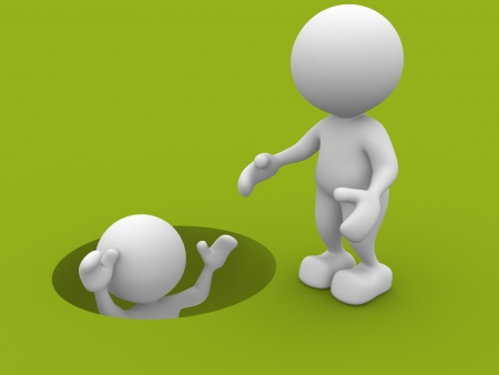 3d people - man, person draw out of hole. Helping