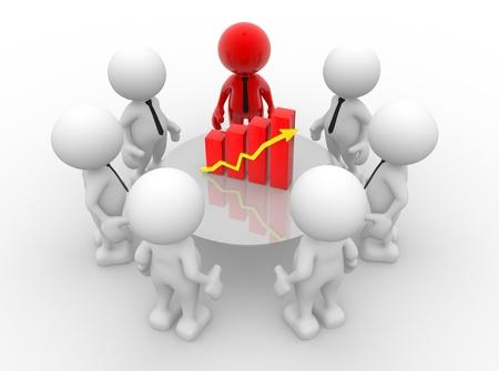 3d people - men, person with financial chart - diagram. Business success concept 免版税图像 - 14967189