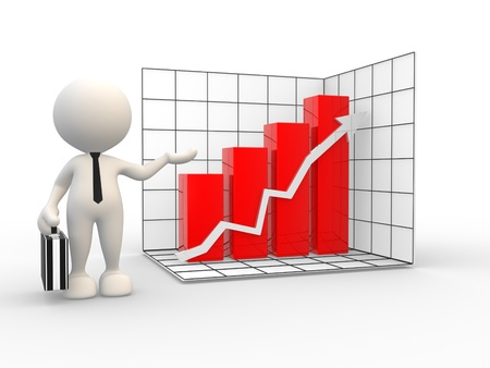 3d people - man, person  presenting successful business graph. Stock Photo - 14967174