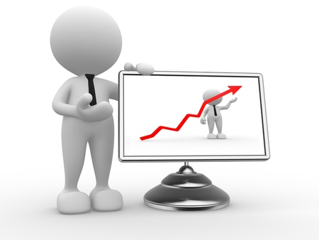 comparative: 3d people - man, person with financial graph and a monitor.  Successful concept Stock Photo