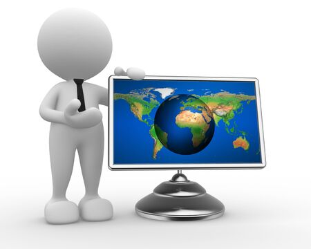 3d people - man, person with a earth globe - map  on a monitor photo