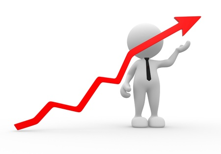 gains: 3d people - men, person with red arrow - graph financiar.  Successful business concept