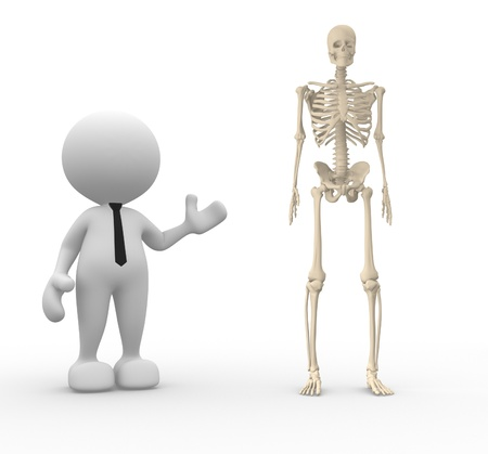 3d people - man, person with a skeleton photo
