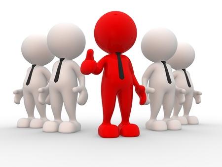 follow the leader: 3d mensen - mannen, persoon in het team Leadeship en team
