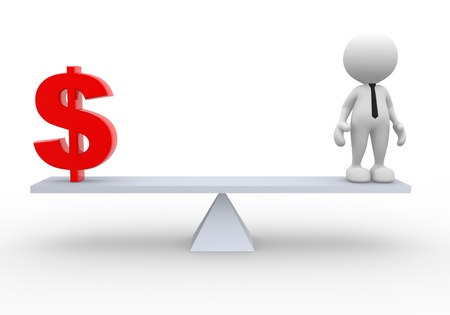 equilibrium: 3d people - man, person and a dollar sign. Businessman Stock Photo