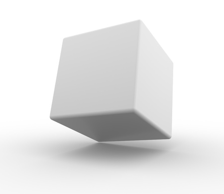 White cube on a white background. 3d render Stock Photo - 15017676