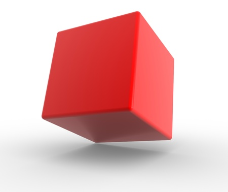 Red cube on a white background. 3d render Stock Photo - 15017669