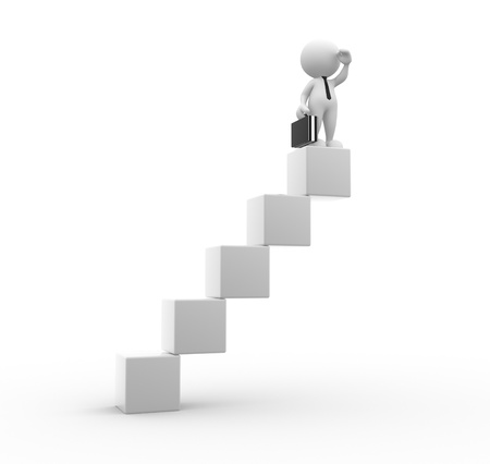 up stair: 3d people - man, person the cube-shaped staircase. Successful business Stock Photo