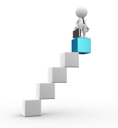 3d people - man, person the cube-shaped staircase. Successful business Stock Photo - 15017658