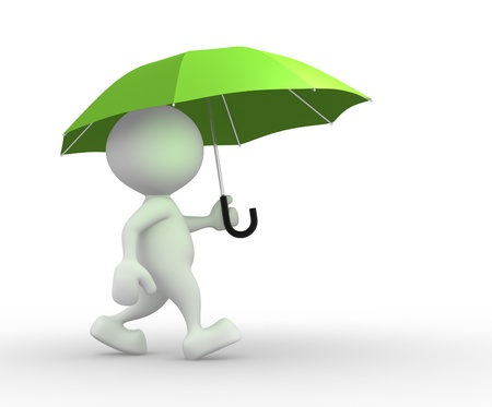 3d people - man, person under green umbrella
