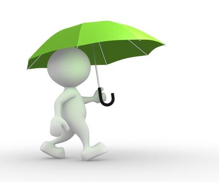 uomo sotto la pioggia: Persone 3d - uomo, persona sotto l'ombrello verde