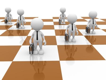 tablero de ajedrez: 3d gente - hombre, persona como peones en ajedrez