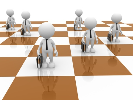 pawn: 3d people - man, person as pawns on chess board