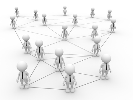 arranged: 3d people - men, person arranged in a network