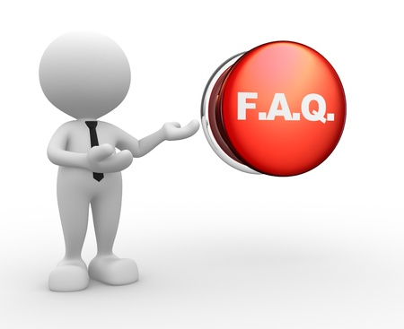 helpdesk: 3d people - man, person with button and Frequently Asked Questions  FAQ concept  Stock Photo