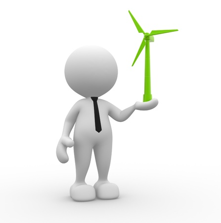 wind icon: 3d people - man, person with a wind turbine  Concept of ecology  Stock Photo