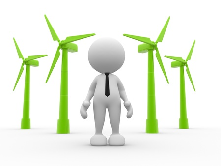 impeller: 3d people - man, person and  wind turbines  Concept of ecology  Wind energy  Stock Photo