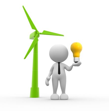 3d people - man, person with a wind turbine and a light bulb  Concept of ecology  photo