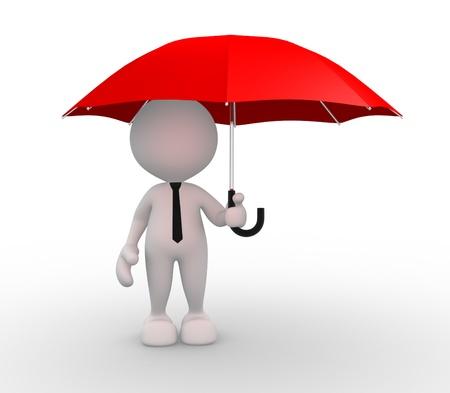 sotto la pioggia: Persone 3d - uomo, persona sotto l'ombrello rosso Archivio Fotografico