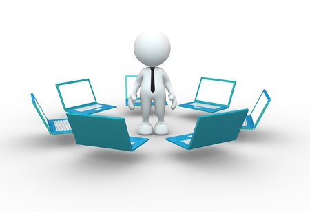 3d people - man, person with laptops placed in the network  Concept of communication Stock Photo - 15017689