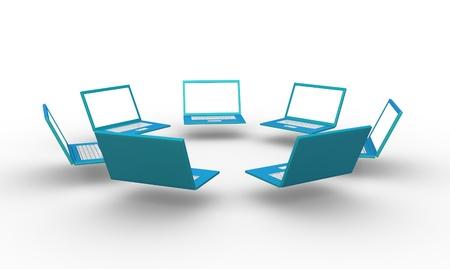 netbook: Group of laptops  3d render