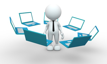 netbooks: 3d people - man, person with laptops placed in the network  Concept of communication