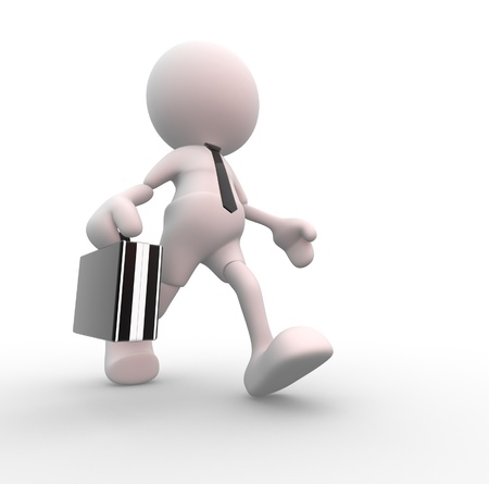 hurry up: 3d people - man, person which is quick. Hurry- up. Businessman Stock Photo