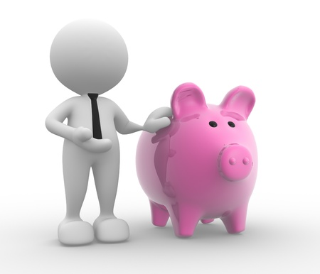 savings account: 3d people - man, person with a piggy bank.  Banker