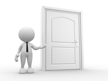 guest house: 3d people - man, person and a door. Stock Photo