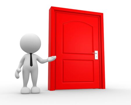 knocker: 3d people - man, person and a door. Stock Photo