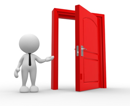 doors open: 3d people - man, person and a open door. Stock Photo