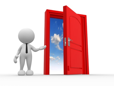 welcome home: 3d people - man, person and a open door to heaven Stock Photo