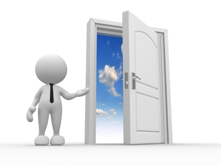 3d people - man, person and a open door to heaven Stock Photo - 15017713