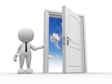 sortir: 3d personnes - homme, personne et une porte ouverte vers le ciel Banque d'images
