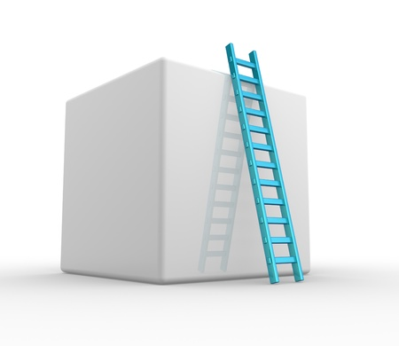 clamber: A Cube and a ladder. Progress concept.  3d render   A Cube and a ladder. Progress concept.  3d render Stock Photo