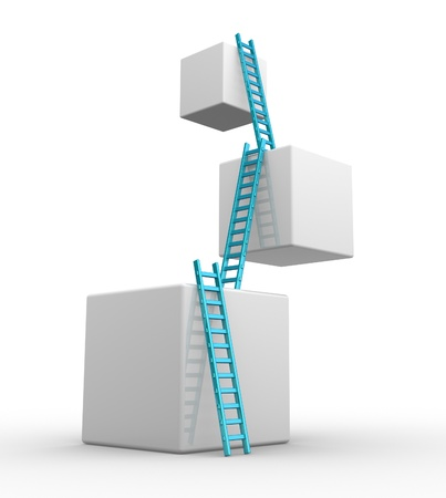 levels: Kubussen met ladders. Progress concept. 3d render Stockfoto