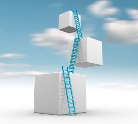 climbing up: Cubes with  ladders. Progress concept.  3d render