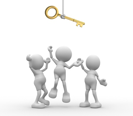 3d people - men, person are fighting for a key. Stock Photo - 15117868