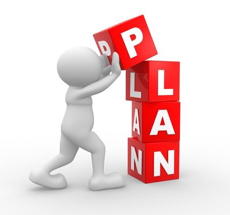 3 d の人々 - 人、人と「計画」単語を持つキューブ。