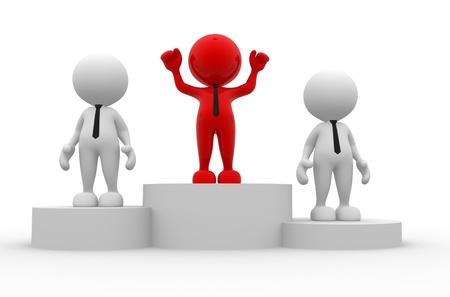 dais: 3d people - men, person on podium. The concept of business success