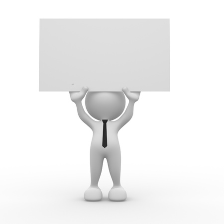 3d people - man, person holding a blank board. photo