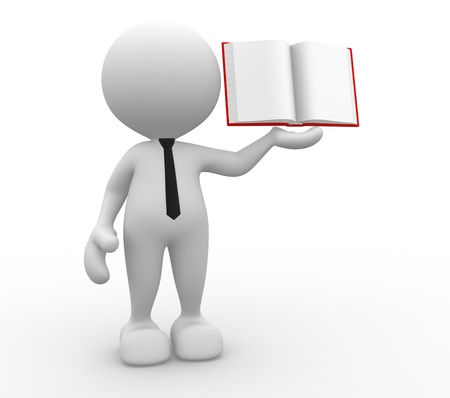 teachers: 3d people - man, person with a open book.