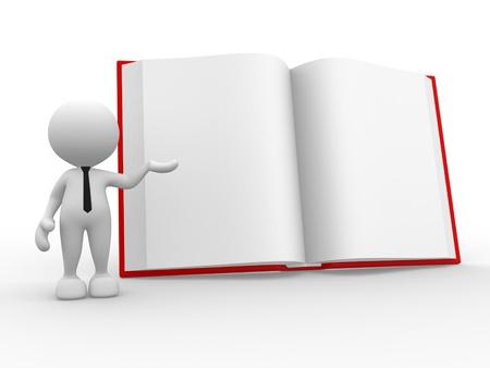 marioneta: 3d gente - hombre, persona, con un libro abierto.