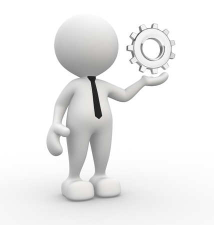3d people - man, person with gear mechanism. Stock Photo - 15117858